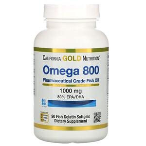 California Gold Nutrition, 歐米伽 800 醫級魚油,含 80% EPA:DHA,甘油三酸酯,1000 毫克,90 粒魚明膠軟凝膠